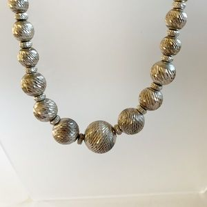Vintage Jewelry - Vtg Signed Sterling Silver Diamond Cut Necklace